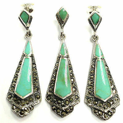 Grand Art Deco Turquoise Marcasite Set Pendant Earring 925 Sterling Silver