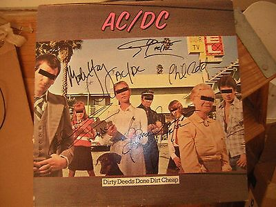 - Ac/dc Signed Lp Dirty Deeds Done Dirt Cheap Full Group