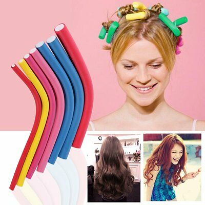 10pc Hair Care Magic Curler Roller Easy Tool Soft Foam Bendy Twist Curls Styling