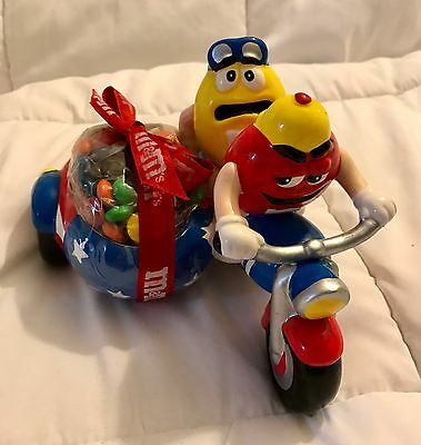 M&M Motorcycle with Side Car Candy Dish Red & Yellow M&M Riders