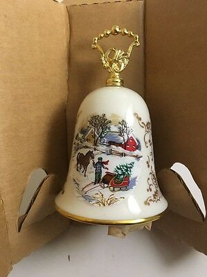 Gorham Christmas Bell 1984 Noel Currier And Ives Horse and Sleigh Bell Noel