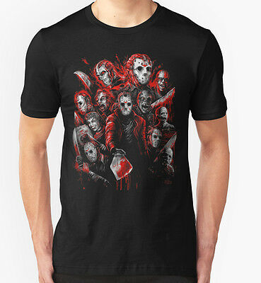 NEW Jason Voorhees (Many faces of) Men Black Tshirt Size S-2XL
