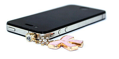 Crystal Fluffy Butterfly Style Headphone Jack Dustproof Plug for Cell Phone Pink