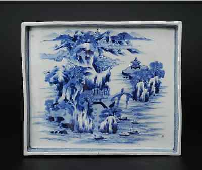 Chinese Old Blue Porcelain Rectangle Suiban  / W 31.2 × D 26.2 × H 3.5[cm]