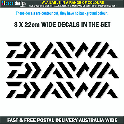Daiwa Decals 3 PACK Marine Vinyl stickers to suit fishing boat tackle box #D001