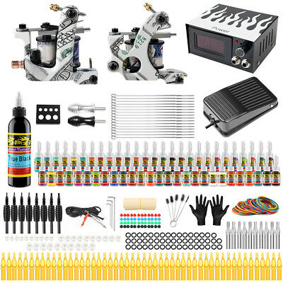 Complete Kit Set 2 Tattoo Machine Gun 54 Ink Power Supply Needles Grip TK252