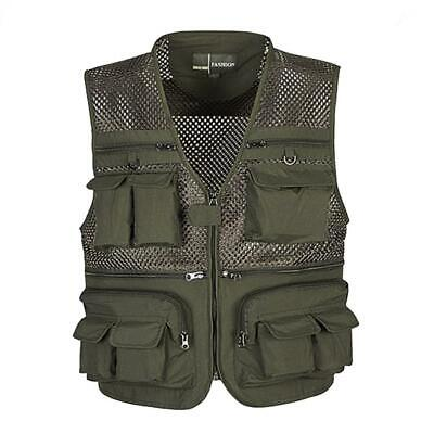 Men Multi Pocket Fly Fishing Mesh Vest Photography Travel Waistcoat Jacket L-4XL