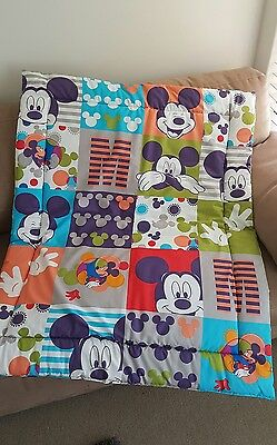 Mickey Mouse Squares Cot Quilt or Playmat Handmade NEW