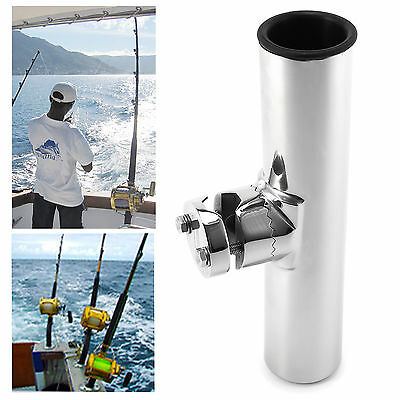 Stainless Steel Clamp On Rail Mount Fishing Rod Holder For Rails 3/4' - 1'' Tube