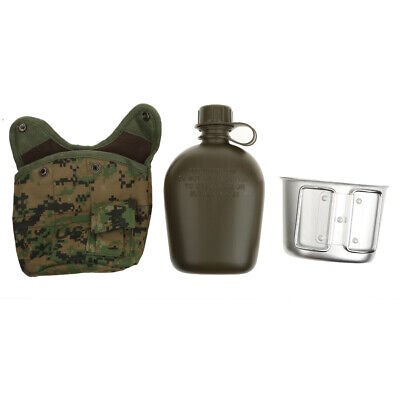 1L Army Military Canteen Hydration Water Bottle Cover+Cup Outdoor Camping Hiking
