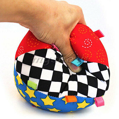 Colorful Soft Rattle Hand Grasp Ring Bell Kids Baby Educational Music Ball Toys