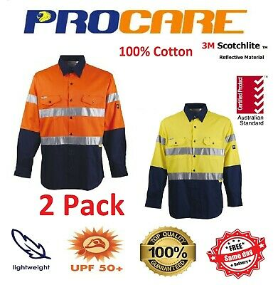2 x Hi Vis Work Shirt + vents cotton Drill 3M ref Tape ProCare long sleeves
