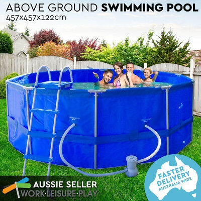 Airtime Steel Frame Above Ground Pool Huge Round Swimming Pool Filter Pump
