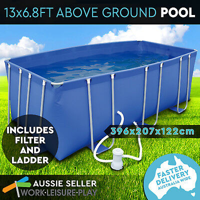 Airtime Steel Frame Above Ground Pool Rectangular Swimming Pool Filter Pump