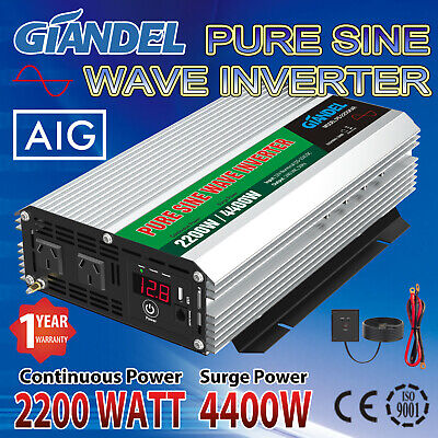 Large Shell Pure Sine Wave Power Inverter 2200W(4400Wax)12V-240V+Remote Control