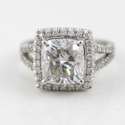 Certified 5.50 Ct H Si2 Cushion Cut Diamond Ring 14 K White Gold Nib
