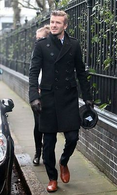 David Beckham Stylish Men's Long Double Breasted Trench Overcoat Pea Coat-Bnwt