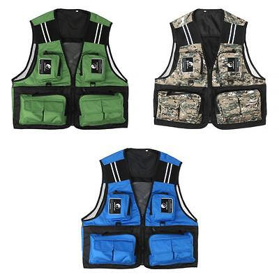 Multi Pockets Fly Fishing Mesh Vest Travel Waistcoat with Reflective Stripe