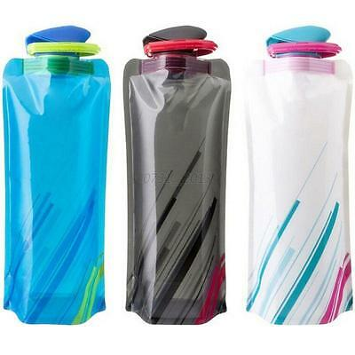 700ML Outdoor Drink Water Bottle  Travel Camping Folding Foldable Collapsible
