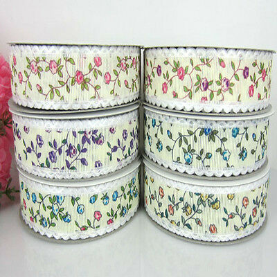 """10yards 1"""" Printed Multicolor Flower Ribbon For Craft Decorations ribbon bow"""