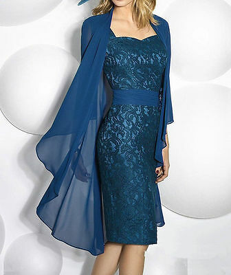 Lace Mother Of The Bride Dress With Chiffon Jacket Knee Length Wedding Outfits