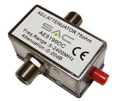 Variable Attenuator 'F' Connector 0-20dB 5-2400Mhz DCPASS for TV Aerial