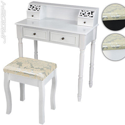 Wooden Dressing Table & Stool Set 4 Drawers Vanity Bedroom Makeup Desk Dresser