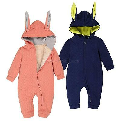 Cute Infant Baby Kids Boy Girl Hooded Romper Jumpsuit Bodysuit Outfits Set 0-18M