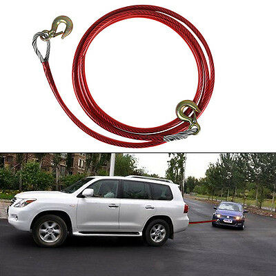 4M Car Tow Rope Pull Towing Strap Hooks Heavy Duty 5 Tons Van Road Recovery UK