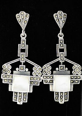Stunning Art Deco Style Mother Of Pearl Marcasite Earrings 925 Sterling Silver
