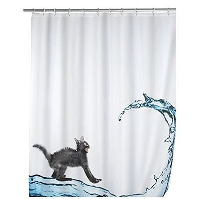 Wenko Antimould shower curtain Cat antibacterial, washable, Plastic