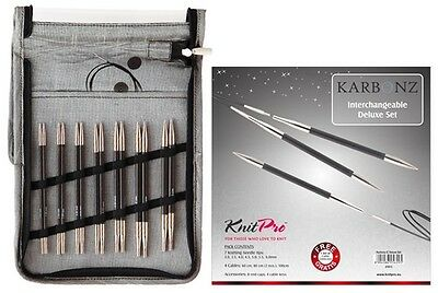 KnitPro Karbonz Interchangeable Circular Knitting Needle - Deluxe Set - Knit Pro