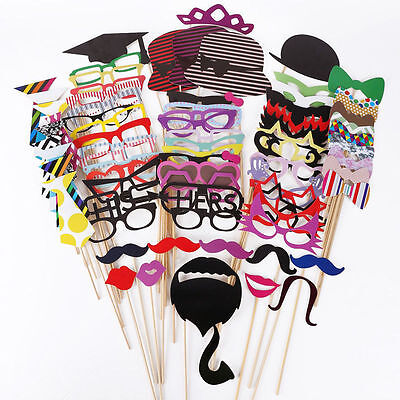 76pcs Photo Booth Props Mustache on A Stick Weddings Birthday Party