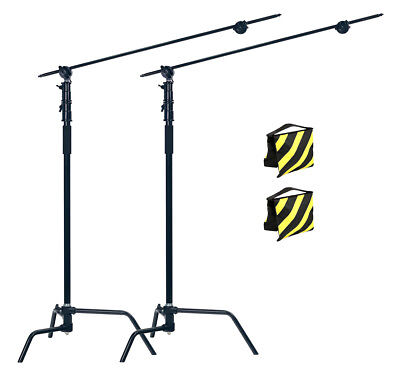 PhotR 2x HeavyDuty Photo Studio 3.25m Century C-Stand Light Boom Arm Sandbag Kit