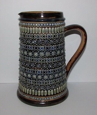 Antique Doulton Lambeth Stoneware Jug by Harriet E Hibbut. Dated 1878.