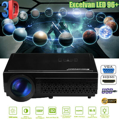 1200Lumen Multimedia 1080P HD LCD LED Projector 3D Home Theater USB/AV/HDMI/SD