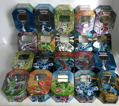Lot 1 boite metallique + 25 cartes pokemon dont +100PV francaises + 1 ultra EX