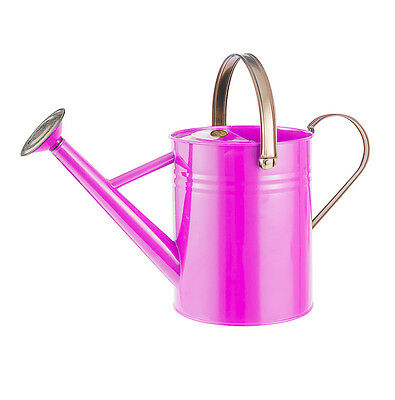 Moulton Mill Metal Watering Can Bright Pink 4.5 Litre Galvanised Steel Garden