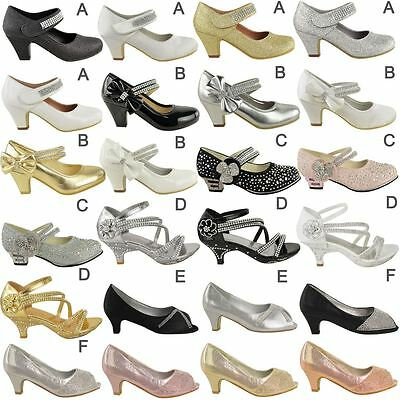 51e29ffcac4 Girls Childrens Kids Party Gem Mary Jane Style Strap Sandals Shoes Pumps  Size UK