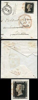 Penny Black (AI) Plate 4 on part cover with very fine OS handstamp (Old Stamp u