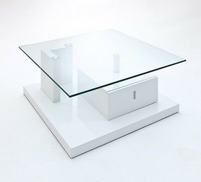 Gloss White Coffee Table With Glass Top And Drawer