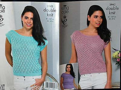 Ladies Double Knit Lacy Summer Top Knitting Pattern 32 - 42 Inch