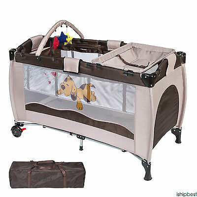 Portable Infant Child Baby Travel Cot Bed Playpen Bassinet & Entryway New