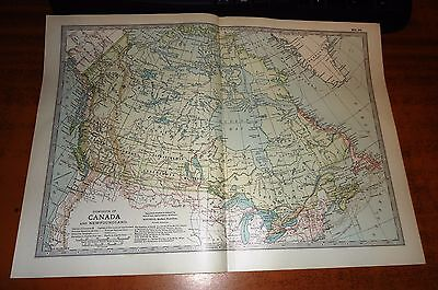 DOMINION OF CANADA And Newfoundland ADAM & CHARLES Antique Map 1903