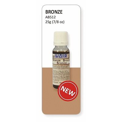 PME Bronze Lustre Edible Airbrush Colour 25ml - Cake Decorating and Sugarcraft