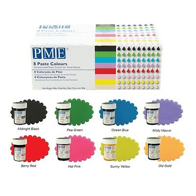 PME Icing Colour Gel Paste for Cake & Cupcake Decorating. Set of 8 Colours