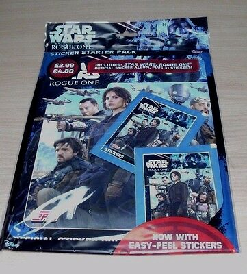 Topps Star Wars Rogue One Stickers Collection Album Starter Pack + 31 stickers