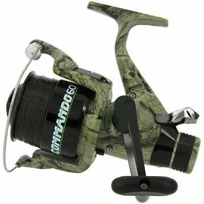 Carp Fishing Camo Lineaeffe Commando 040 Or 60 Free Runner Reel + Spare Spare