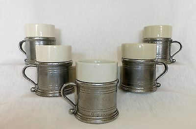 Lot Of 5 RWP Wilton Armetale Pewter Mugs With Ceramic Inserts GREAT CONDITION