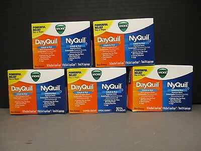 5 Vicks NyQuil DayQuil Combo Pack 5x24ct ea/96 Total LiquiCaps Exp 1/18+ DE 8165